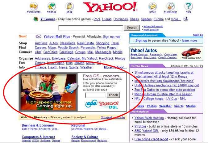 Yahoo hacía SEM con anuncios en banners